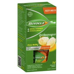 Berocca Fizzy Melts Energy Vitamin Orange Fresh Chewable Tablets 14 pack –