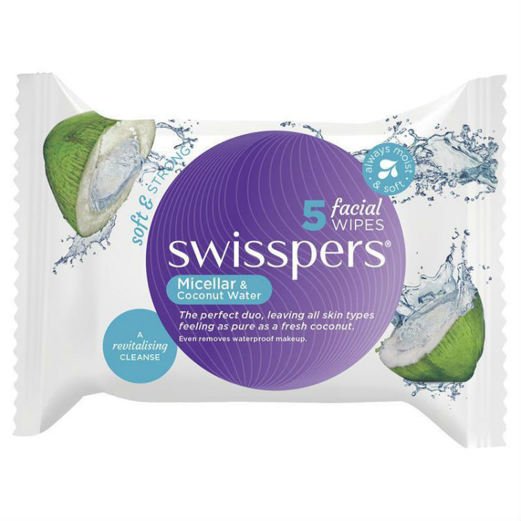 Swisspers Micellar & Coconut Water Facial Wipes 5 Pack