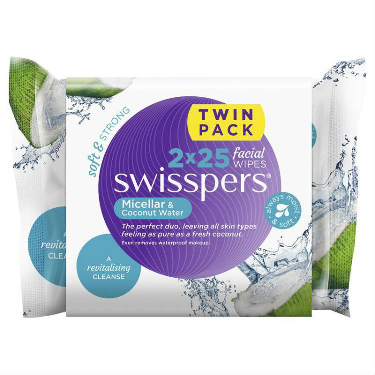 Swisspers Micellar & Coconut Water Facial Wipes 2 x 25 Pack