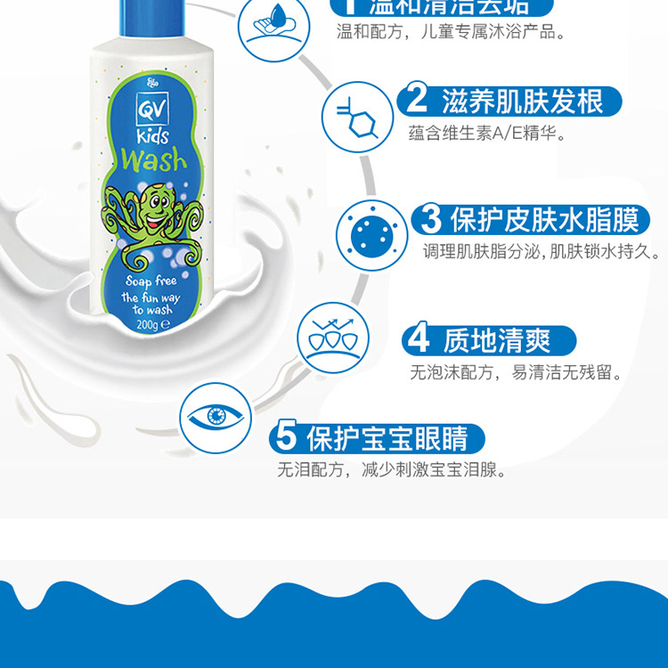 Ego QV儿童3合1 洗护洁面洗发沐浴液200g – Baojian 保健,美妆和个人护理商品