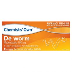 Chemists Own De Worm Chewable – 6 Tabs | DDS
