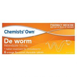 Chemists Own De Worm Chewable – 6 Tabs | DDS